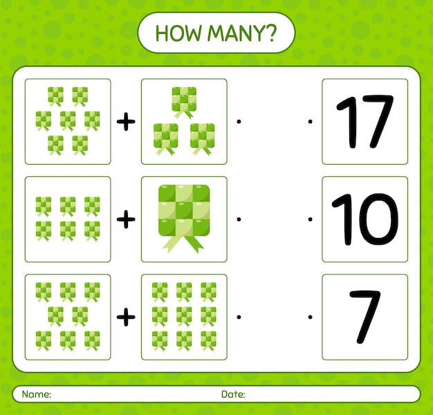 How many counting game with ketupat. worksheet for preschool kids, kids activity sheet, printable worksheet