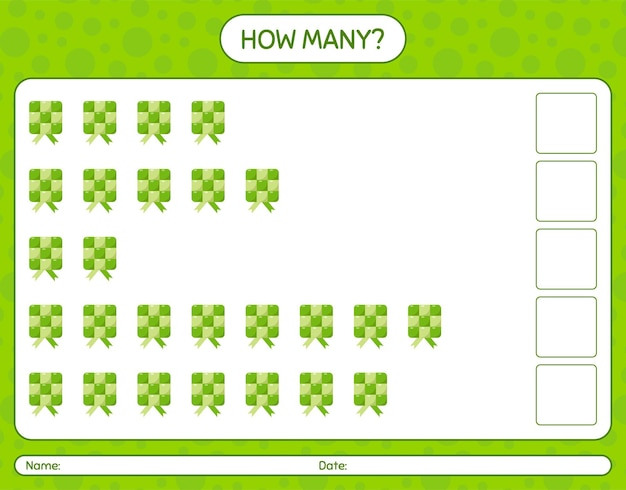 How many counting game with ketupat. worksheet for preschool kids