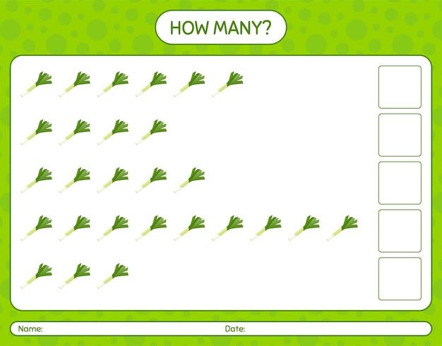 How many counting game with leek. worksheet for preschool kids, kids activity sheet, printable worksheet