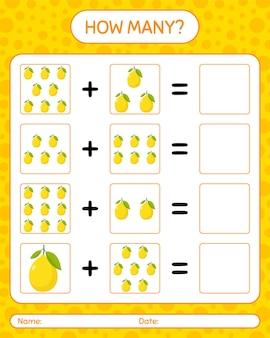레몬으로 얼마나 많은 계산 게임. 미취학 아동을위한 워크 시트, 아동 활동 시트, 인쇄 가능한 워크 시트