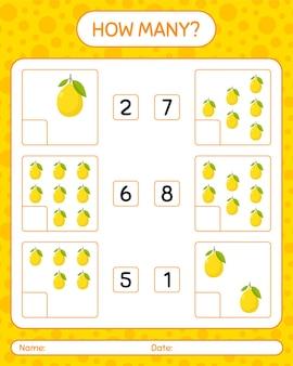 미취학 아동을위한 레몬 워크 시트, 어린이 활동 시트, 인쇄 가능한 워크 시트가있는 계산 게임 수