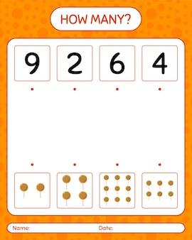 ロリポップを使ったカウントゲームの数。就学前の子供のためのワークシート、子供の活動シート