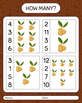 リュウガンを使ったカウントゲームの数。就学前の子供のためのワークシート、子供向けアクティビティシート、印刷可能なワークシート