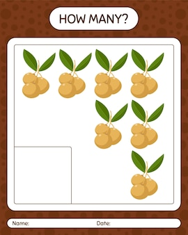 How many counting game with longan. worksheet for preschool kids, kids activity sheet, printable worksheet