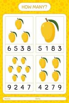 Сколько счетная игра с листом манго для детей дошкольного возраста, лист активности детей, лист для печати