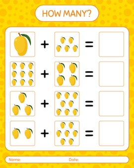 How many counting game with mango. worksheet for preschool kids, kids activity sheet, printable worksheet