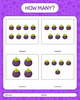 Сколько счетная игра с листом мангустина для детей дошкольного возраста, лист активности детей, лист для печати