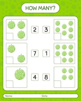 미취학 아동을위한 멜론 워크 시트, 어린이 활동 시트, 인쇄 가능한 워크 시트가있는 계산 게임 수
