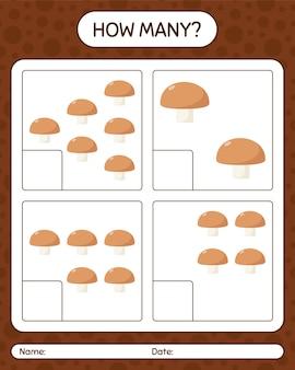 Сколько счетная игра с грибами. рабочий лист для детей дошкольного возраста, лист активности детей, рабочий лист для печати