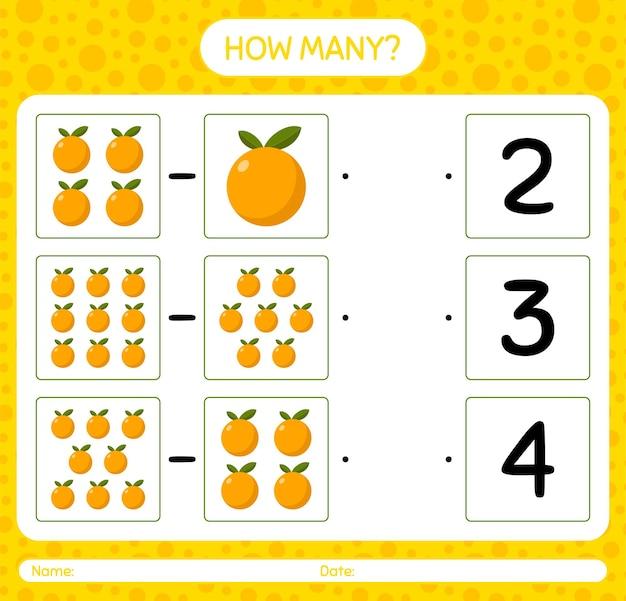 就学前の子供のためのオレンジ色のワークシート、子供向けアクティビティシート、印刷可能なワークシートを使用したカウントゲームの数 Premiumベクター