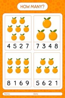 Сколько счетная игра с оранжевым листом для детей дошкольного возраста, лист активности детей, лист для печати