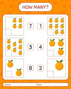미취학 아동을위한 주황색 워크 시트, 어린이 활동 시트, 인쇄 가능한 워크 시트가있는 계산 게임 수