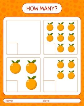 就学前の子供のためのオレンジ色のワークシートを使ったカウントゲームの数