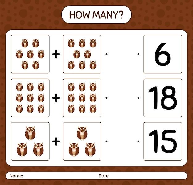 Сколько счетная игра с совой. рабочий лист для дошкольников, детский лист активности
