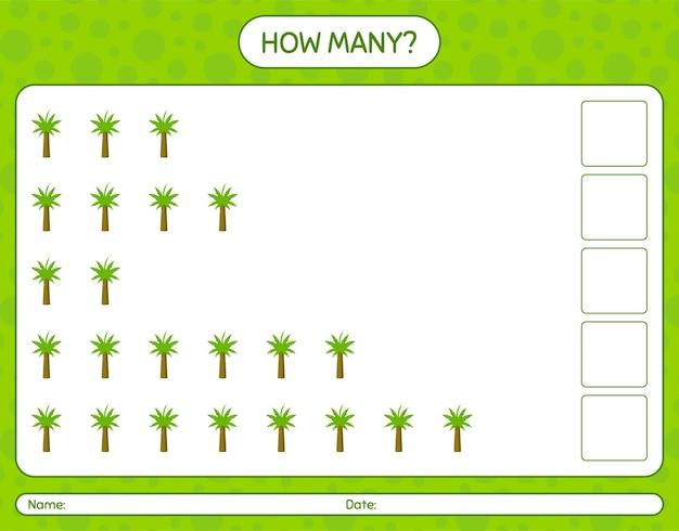ヤシの木を使ったカウントゲームの数。就学前の子供のためのワークシート