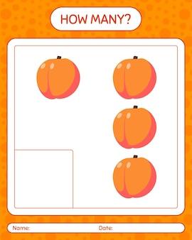 Сколько счетная игра с персиком. рабочий лист для детей дошкольного возраста, лист активности детей, рабочий лист для печати