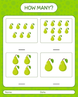 How many counting game with pear worksheet for preschool kids, kids activity sheet, printable worksheet