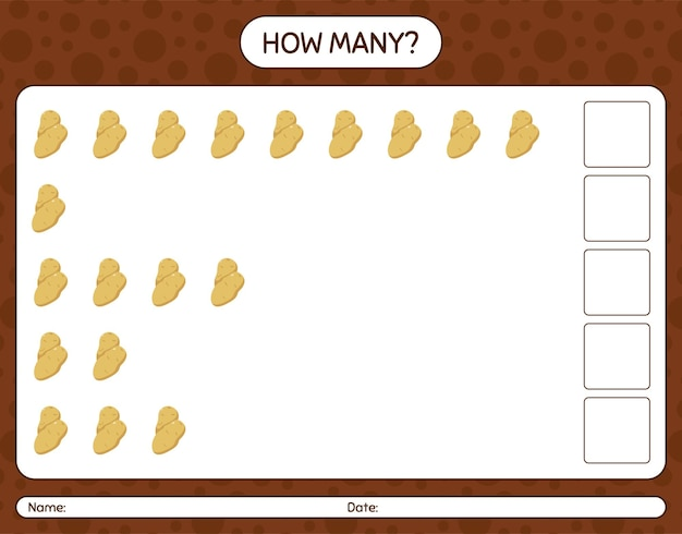 How many counting game with potato. worksheet for preschool kids, kids activity sheet, printable worksheet