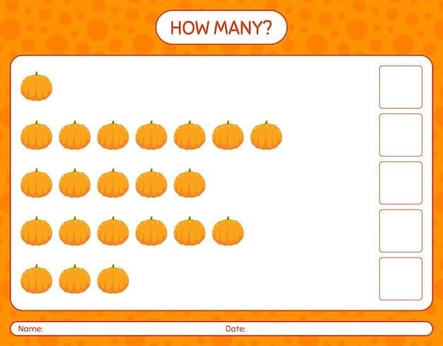 How many counting game with pumpkin. worksheet for preschool kids, kids activity sheet, printable worksheet
