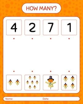 かかしを使ったカウントゲームの数。就学前の子供のためのワークシート、子供の活動シート
