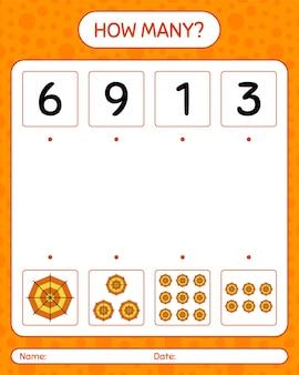 蜘蛛の巣を使ったカウントゲームの数。就学前の子供のためのワークシート、子供の活動シート