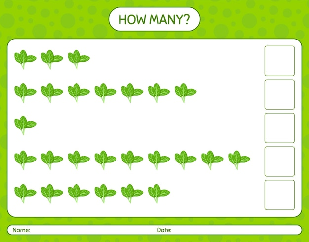 How many counting game with spinach. worksheet for preschool kids, kids activity sheet, printable worksheet