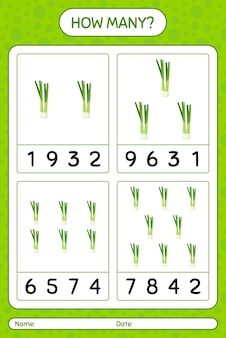 Сколько подсчетов дичи с зеленым луком. рабочий лист для детей дошкольного возраста, лист активности детей, рабочий лист для печати