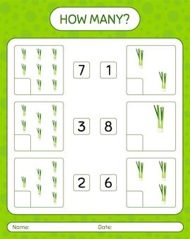 Сколько подсчета игры с зеленым луком. рабочий лист для дошкольников, детский лист активности