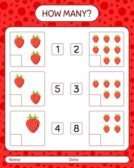 미취학 아동을위한 딸기 워크 시트, 어린이 활동 시트, 인쇄 가능한 워크 시트가있는 몇 개의 계산 게임