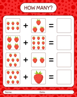 How many counting game with strawberry. worksheet for preschool kids, kids activity sheet, printable worksheet