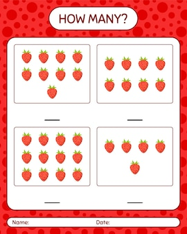 How many counting game with strawberry worksheet for preschool kids, kids activity sheet, printable worksheet