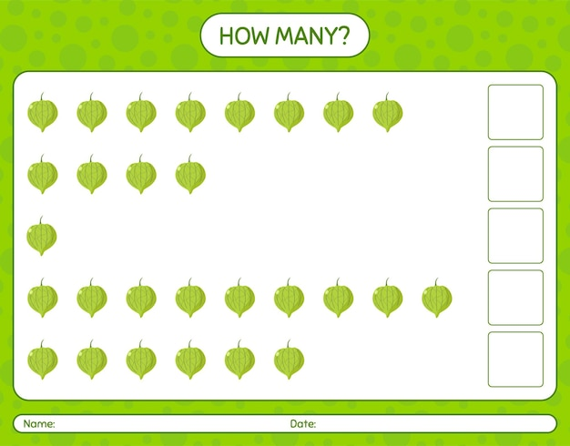 How many counting game with tomatilo. worksheet for preschool kids, kids activity sheet, printable worksheet