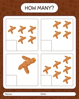 Сколько счетная игра с куркумой. рабочий лист для детей дошкольного возраста, лист активности детей, рабочий лист для печати