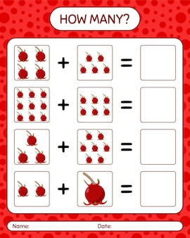 How many counting game with ugni. worksheet for preschool kids, kids activity sheet, printable worksheet