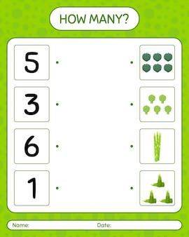 野菜を使ったカウントゲームの数。就学前の子供のためのワークシート、子供向けアクティビティシート、印刷可能なワークシート