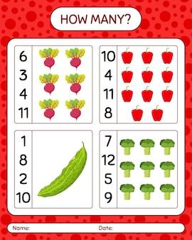 야채와 함께 얼마나 많은 계산 게임. 미취학 아동을 위한 워크시트, 어린이 활동 시트, 인쇄 가능한 워크시트