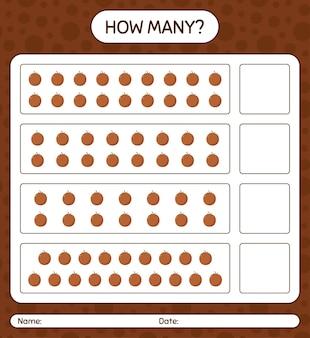 미취학 아동을위한 벨벳 사과 워크 시트, 어린이 활동 시트, 인쇄 가능한 워크 시트가있는 숫자 계산 게임
