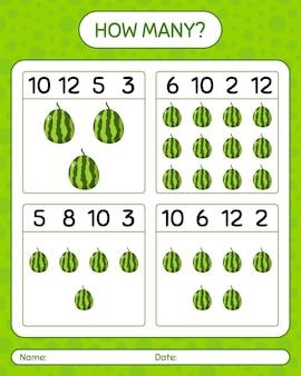 スイカを使った数え上げゲームの数。就学前の子供のためのワークシート、子供向けアクティビティシート、印刷可能なワークシート
