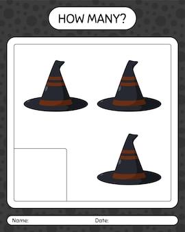 마녀의 모자로 얼마나 많은 계산 게임. 미취학 아동을 위한 워크시트, 어린이 활동 시트