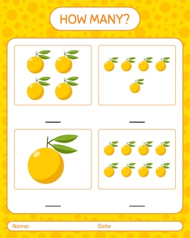How many counting game with yuzu worksheet for preschool kids, kids activity sheet, printable worksheet