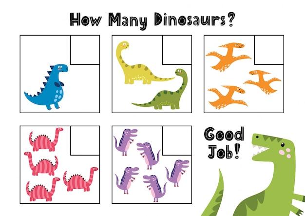 Сколько динозавров ты видишь? подсчитайте и напишите число. математическая обучающая игра для детей формата а4. иллюстрация
