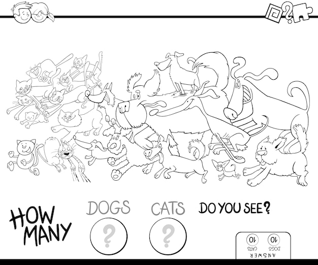 How many dogs and cats color book