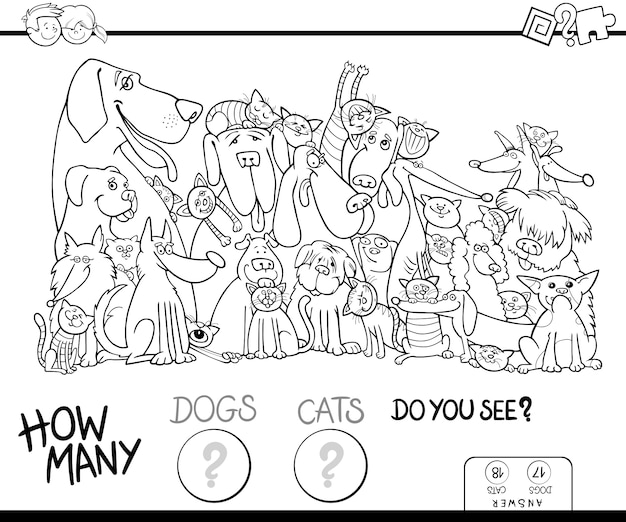 How many dogs and cats coloring book
