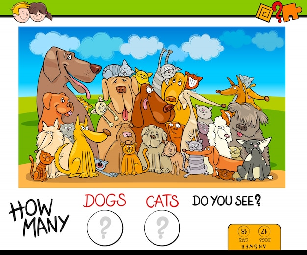 How many dogs and cats counting game