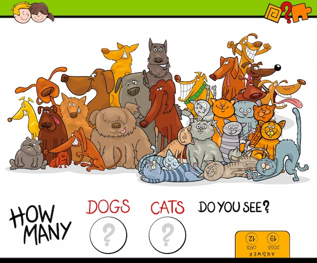How many dogs and cats educational game
