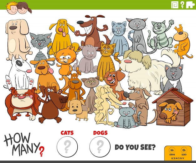 How many dogs and cats educational task for kids