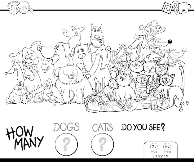 How many dogs and cats game color book