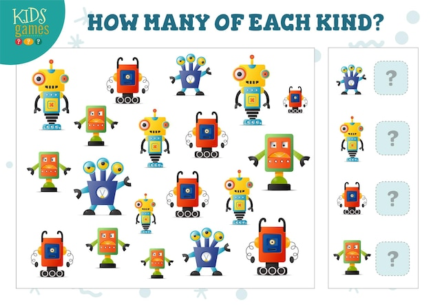 How many of each kind cartoon robot counting game for kids vector illustration. educational quiz for preschool children with math test