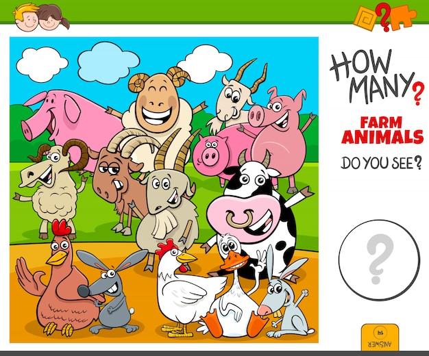 How many farm animals educational task for kids