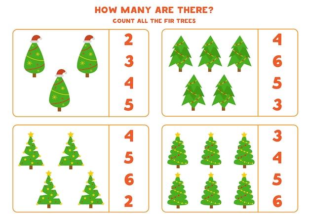 전나무가 몇 그루 있습니다. 아이들을위한 교육 수학 게임.